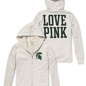 VS ❤️ Pink - MSU Bling Furry Zip Up Hoodie